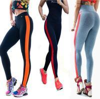 Top sale s4 2014 New Women's Stripe Sport Patchwork Gym Yoga Pants High Waist Leggings fitness sprots pants