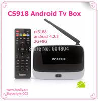 CS918 Quad core cortex A9 RK3188 chipset android 4.2 full hd 1080p media player mini pc smart tv box