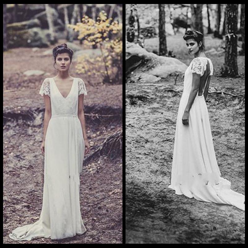 Wedding Dresses 2014 Long Boho Hippie Chiffon A Line Lace Cap Sleeve ...