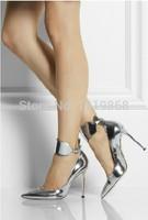 дизайнер каблуки женщин металлические змеи каблуке натуральная кожа указал носок ботинки высокой пятки партии