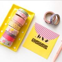 Free ship 1lot=10set/korean stationery kawaii Cartoon printing Hand and paper tape suits school supplies