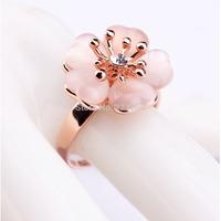 2014 new Christmas Big Sale Jewelry Ring Rose Gold Plt SWA Elements Austrian Crystal White Enamel Flower Ring For Women WNR873