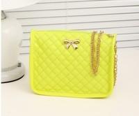 small one shoulder cross-body women's handbag neon color plaid chain bow mini bags