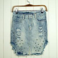 Free shipping Summer fashion flash denim slim hip skirt rivet hole bust Rivet short skirt