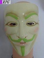 Free shipping for e-EMS Luminous Guy Fawkes V Vendetta Team light yellow  Masquerade Masks Halloween  Carnival Mask  50 pcs/lot