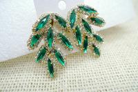 Froest Bijou Green Foliage Shining and Charming Fashion Woman's Favorite Rhine Earrings
