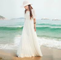 2014 spring and summer white lantern sleeve chiffon lace one-piece dress full beach dress female