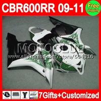 7gifts For HONDA CBR600RR F5 09-11 NEW Green white CBR 600 600RR 09 10 11 11 C7742 CBR600 RR f5 2009 2010 2011 2011  Fairing