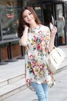 2014 high quality! women's loose shirt lady fashion comfortable blouse peonies print plus size XXXL