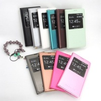 Fashion 2014 Hot New Arrival S-View Window Luxury PU Leather Flip Cover Case For Samsung Galaxy S5 i9600