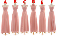 7 Different Style Bridesmaid Dress Ruched Chiffon Long Formal Cheap Bridesmaid Dresses KM-237 Custom Made 2 4 6 8 10 12 14 16