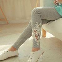 High Quality Spring Womens Elastic Lace Slim Leggings Lady Casual Applique Thin Trousers&Leggings 73027 73028