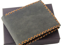 Men's Cowhide Wallet Fashion 100% Genuine Leather Purse Handmade Carteira Famous Brand High Quality A Drop Shipping