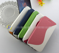 for iphone 6 leather case stand three-colour sandstone design leather cover