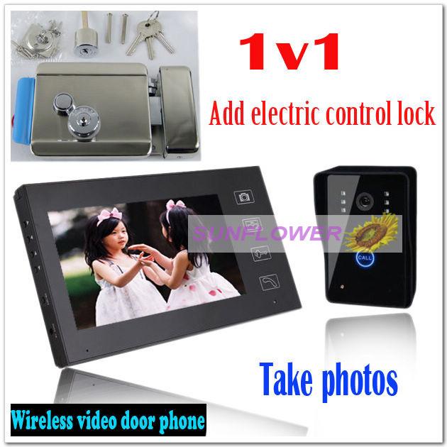 Electric control lock+wireless color video door phones intercom systems door bells(1E-lock+1 outdoor unit+1indoor unit)(China (Mainland))