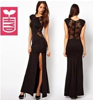 Export brand!2014 summer Vintage Black Evening maxi Dresses Splicing Lace Side Slit Open long dress FOR womens short sleeve