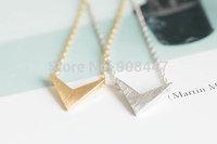(10 pcs/lot) 18k gold silver womens anniversary chevron v pendant necklace
