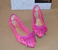 Fashion pointed toe flat shoes lace gauze cutout women's flat heel shoes woman gauze breathable sandals plus size shoes
