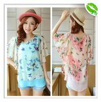 [JFYB] Fashion New 2014 Spring Floral Chiffon Blouses Women Summer Casual Homies T-shirt Ladies Loose Short Sleeve Tops Female