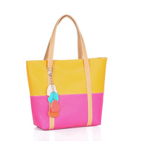 2014 spring and summer brand women's handbag hot-selling casual fashion color block
