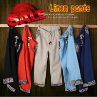 Vintage linen summer ankle length trousers male plus size plus size casual linen pants fluid roll up hem skinny pants trousers