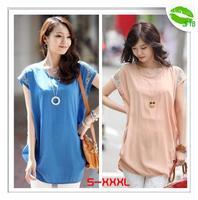 [JFYB] New 2014 Fashion Chiffon Blouses Women Summer Short Sleeve Skirts Ladies Causal Shirt Blue Pink Plus Size XXXL Tops