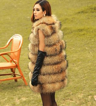 2015 новое поступление реальные енотовидная собака меховой жилет изделия из натурального меха пальто для женщин зима лучший мода меха куртки x-долго оптовая продажа