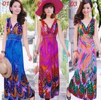 new 2014 sleeveless V neck women spring summer dress bohemian flower print long dresses blue pink dress women clothes clothing