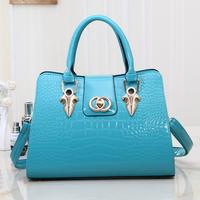 Genuine leather quality women's crocodile pattern handbag 2014 mona lisa