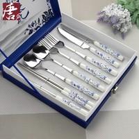Blue and white porcelain dinnerware set stainless steel cutlery 8 piece set fork chopsticks spoon dinnerware set business gift