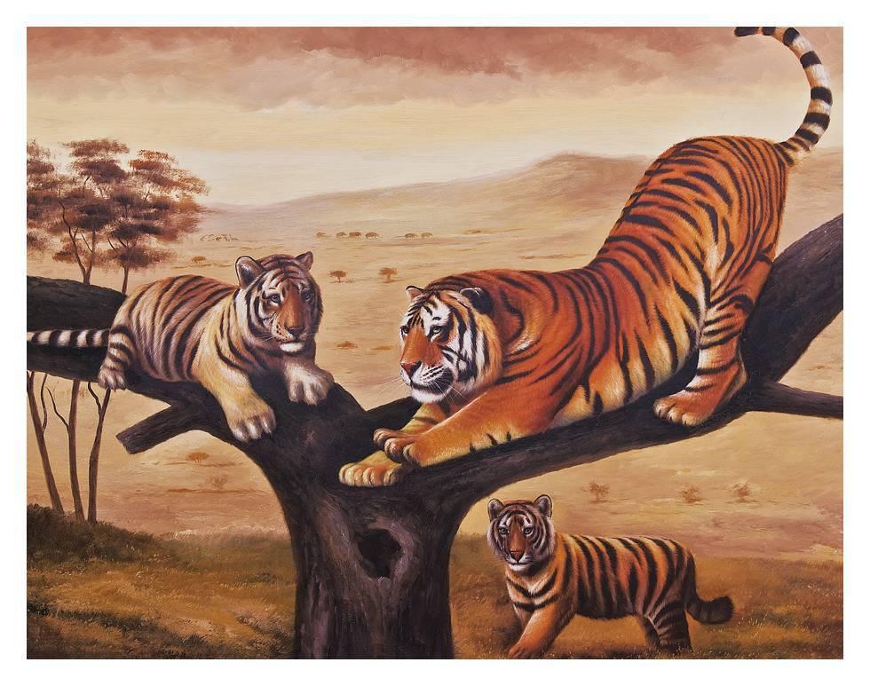 Tiger Climbing Down The Tiger Climb The Tree