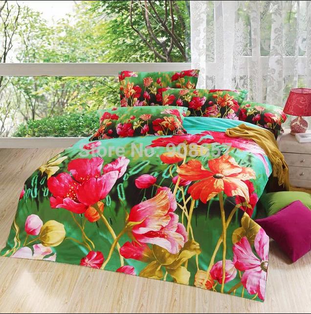 Fleur de pavot vert imprimé draps en coton couette / couette lit couvre ensembles filles décoration pleine / reine king size literie de mariage(China (Mainland))