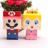 H02 80pcs/lot cartoon Super Marie Bros princess Bride and Groom wedding favors Mario candy box for wedding gifts80pcs/lot