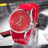 New Arrival 2014 Hot Sale Women Ladies Fashion Quartz  Dress Wrist Watch,Colorful Jelly Silicone Strap Wristwatch,Free Shipping