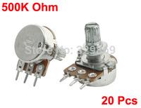 20Pcs B500K 3 Soldering Terminals 8mm Rotating Metal Shaft 500K Ohm Single Linear Rotary Audio Taper Potentiometers