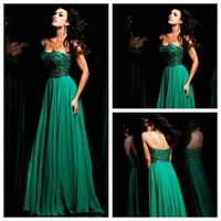 NEW11075 A-Line Floor-Length Sweetheart Beaded Empire Cheap Chiffon Long Prom Dresses,Dark Green Prom Dress