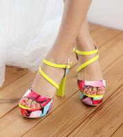 2014 New Arrival Women's Noble Elegant Fashionable Colorful Waterproof Platform High Heels Sandal  Apricot/White/Yellow/Purple