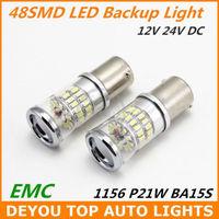 New 2pcs/lot 1156 BA15S 48SMD 3014 LED Backup Reverse signal Turn Light Bulb Xenon White Free shipping
