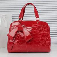 Free Shipping 2014 female fashion crocodile pattern handbag  shoulder bag messenger bag japanned leather handbag