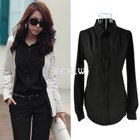 2014 New Fashion Korean Women's Girl Long Sleeve Shirt Loose Blouse Tops 4 Colors Free Postage