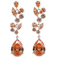 Fashion Wholesale Ablaze Champagne Dangle Cubic Zirconia CZ Warterdrop Diamante Crystal Drop Earring Gift Ladies