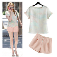 2014 New Summer Two-piece Set Short Sleeves Loose Top T-shirt  + Short Pants / Trouser Casual Summer Pant Suits Free Shipping