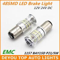 New 2pcs/lot 1157 BAY15D P21/5W 48SMD 3014 LED Brake signal Tail Light Bulb Xenon White Free shipping