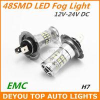 New 2pcs/lot H7 48SMD 3014 LED Fog Light Bulb EMC Xenon White 12V 24V DC 1year warranty Free shipping