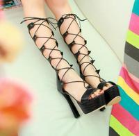 2014 New Arrival Women's Sweet European Stylish Lace-up Platform Fish Dress Pattern Mouth High Heels Sandals Black/Beige/Yellow