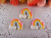 2014 new kawaii rainbow resin craft resins flatback for hair bows hairbows flat back resins 50pcs/lot  WQ14042301