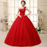 2014 New 100% Actual Images Floor-Length Crystal Backless Lace Flower Princess Red Wedding Dress Bridal Gown Free Shipping HS021