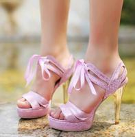 2014 New Arrival Women's Noble Elegant Shining Snake Skin Pattern Lace-up Decorated Hing Heels Platform Sandals Gold/Purple
