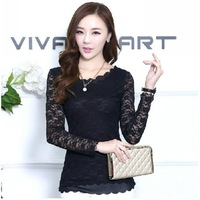 2014 New Arrival Summer Long Sleeve Women Sexy Lace T-shirt