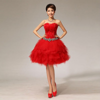New arrival 2014 bride dress bridesmaid dress party dress plus size S-XXL sexy cute strapless dresses red formal dress LF001